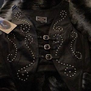River Road Black Leather Vest   Size XL